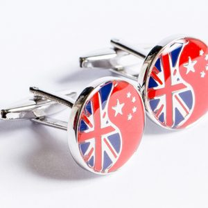Cufflinks (Yin & Yang Union Jack and Chinese Flag)
