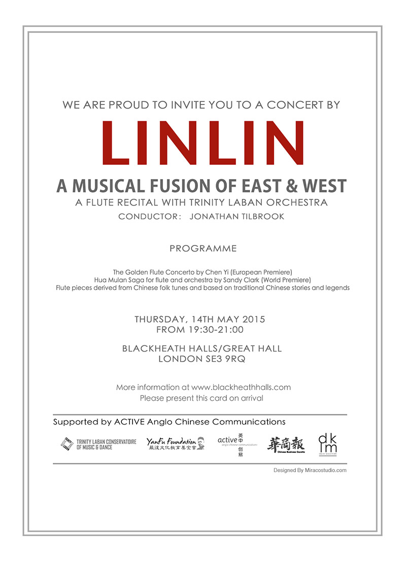 Linlin - a Musical Fusion of East and West - invite
